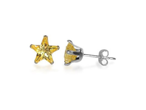 Sterling Silver 6mm Star Citrine Cubic Zirconia Post Stud Earrings