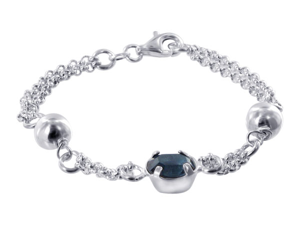 ".925 Sterling Silver Dual Chain with 7mm Ball and 10 x 9mm Oval Blue Cubic Zirconia 7"" Bracelet with Lobster Clasp"