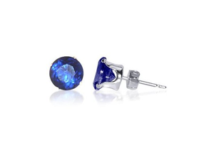 Sterling Silver 7mm Round Blue Sapphire Cubic Zirconia Post Back Stud Earrings