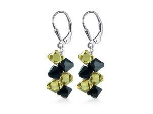 "Yellow & Black Genuine Swarovski Crystals Sterling Silver Leverback 1.5"" Long Dangle Earrings"