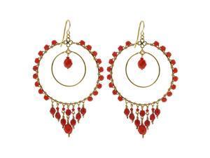 Double Circle Brazilian Czech Seed Dark Peach Beads French Wire Hook Dangle Earrings