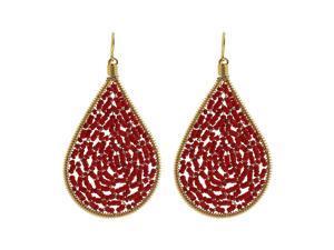 Teardrop Shape Brazilian Czech Seed Red Beads French Wire Hook Dangle Earrings
