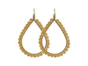 Teardrop Shape Brazilian Czech Seed Beads French Wire Hook Dangle Earrings