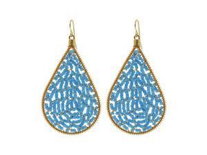 Teardrop Shape Brazilian Czech Seed Baby Blue Beads French Wire Hook Dangle Earrings