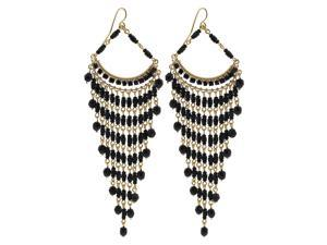Brazilian Chandelier Fashion Earrings Made with Black Czech Seed Beads French Wire Hook