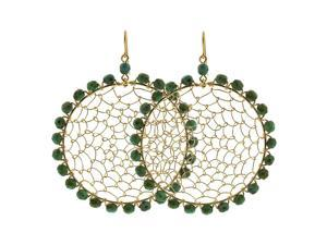 Circle Brazilian Czech Seed Natural Green Beads French Wire Hook Dangle Earrings