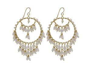 Brazilian Chandelier Fashion Earrings Made with White Czech Seed Beads French Wire Hook