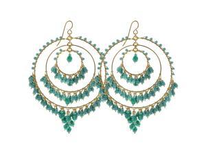 Brazilian Chandelier Fashion Earrings Made with Turquoise Green and Blue Czech Seed Beads French Hook