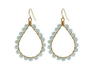 Teardrop Shape Brazilian Czech Seed Blue Beads French Wire Hook Dangle Earrings