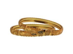 Gold Filled Carved Design Bangle Bracelet Set