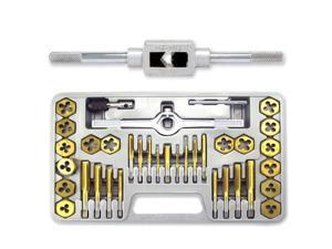 Neiko Titanium Coated Tap & Hexagon Die Set - 40 Pieces - SAE #4 to 1/2-Inch