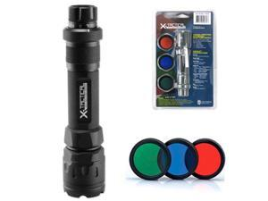 Cree X-Tactical Ultra-Bright Tactical Aluminum Flashlight - 4 Functions, 3 Detachable Color Lenses - 235 Lumens