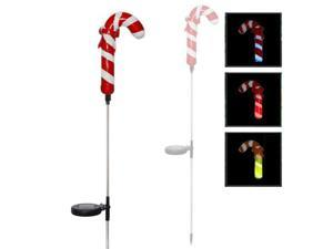 Solar Powered LED Color Changing Christmas Lighting Yard Stick- Candy Cane (Single Item)