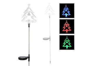 Solar Powered LED Color Changing Christmas Lighting Yard Stick- Christmas Tree (Single Item)