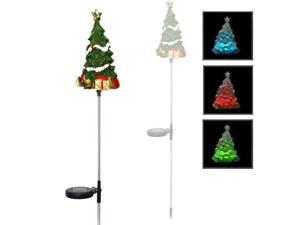 Solar Powered LED Color Changing Christmas Lighting Yard Stick- Christmas Tree (Single Item)