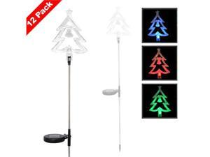 Solar Powered LED Color Changing Christmas Lighting Yard Stick- Clear Christmas Tree (12 Pack)