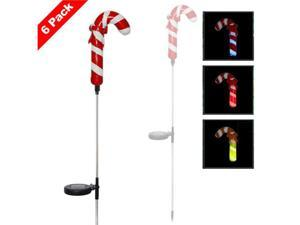 Solar Powered LED Color Changing Christmas Lighting Yard Stick- Candy Cane (6 Pack)