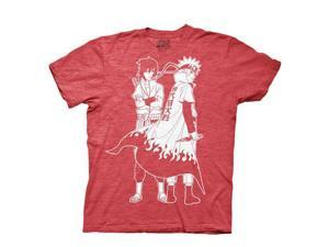 Naruto Shippuden Naruto and Sauke Outline Red T-Shirt
