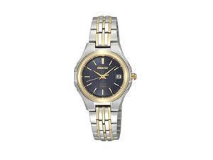 Seiko Solar Two-tone Bracelet Black Dial Women's watch #SUT040