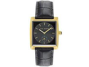 Ted Baker Sub-Seconds Dial Black Leather Strap Gold-Tone Mens watch #TE1111