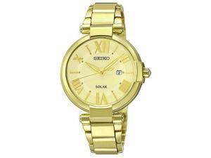 Seiko Solar Three-Hand Date Stainless Steel - Gold-Tone Women's watch #SUT176