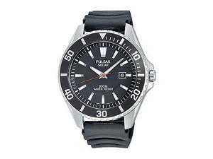 Pulsar Solar Three-Hand Black Rubber Men's watch #PX3037