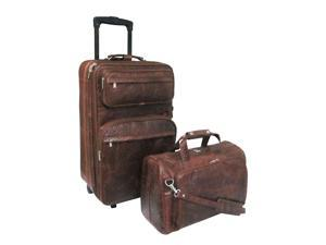 Amerileather Brown Ostrich Print Leather Two Piece Set Traveler(#8002-6)