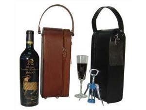 Black Leather Single Wine Case Holder (#21-02)