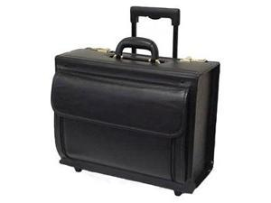Black Leather Wheeled Catalog Case (#1855-0)