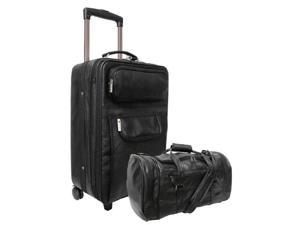 Amerileather Black Leather Two Piece Carry-On Luggage Set (#7002-0)