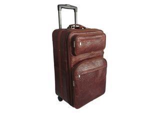 "Amerileather Brown Ostrich Print Leather 25"" Expandable Suitcase with Wheels(#89-6)"