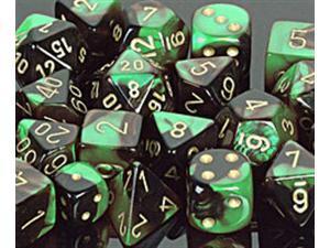 Polyhedral Dice: Gemini 4 Black-Green w/ Gold