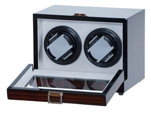 Double Watch Winder Ebony Wood w/LCD Display