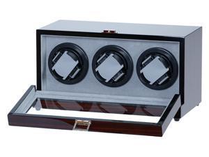 Triple Watch Winder Ebony Wood w/Digital LCD Display Powered w/Mabuchi Motors