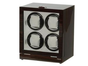 Four Watch Winder Ebony Wood w/LCD Display