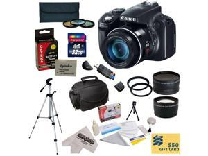 Canon PowerShot SX50 HS 12MP Digital Camera with Ultimate Accessory Bundle : Canon PowerShot SX50 + 32GB Class 10 SDHC Card + Battery Pack + 3 Piece Pro Filter Kit + Carry Case + Tripod + Extras