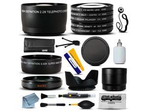 Lenses & Filters Accessories Bundle Kit includes Macro + Telephoto + Lens Cap + Hood + CPL UV FLD Filter Accessory Set for Canon HF M40 M41 M50 M52 M400 M500 HG10 HV20 HV30 HV40 HFM50 HFM500 Camcorder