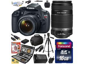Canon EOS Rebel T5 1200D 18-55 + 55-250 Lens SLR Digital Camera (Best Value Kit) 9126B003 (16GB SD Card + SD Reader + Soft Case + Battery + Charger + Cleaning Kit + Pro Tripod + Filter Kit + More)