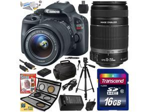 Canon Rebel SL1 100D w/ 18-55 + 55-250 SLR Digital Camera (Best Value Bundle) 8575B003 (16GB SD Card + SD Reader + Soft Case + Battery + Charger + Cleaning Kit + Pro Tripod + Filter Kit + More)