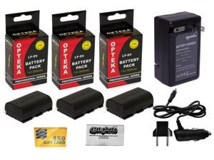 3x LP-E6 LPE6 2600 mAh Battery + Rapid Travel Charger for Canon EOS 6D 60D 60Da 70D 7D Mark 5D II III DSLR