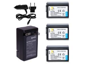 3 x NP-FW50 NPFW50 Battery + Rapid Travel Charger for SONY NEX-7 NEX-6 NEX-5N NEX-3N A3000 A5000 Alpha 7 7R 7S DSC-RX10 RX10 A6000 NEX-5R NEX-5T NEX-5 NEX-3 NEX-C3 NEXC5 SLT A33 A37 A55 RX10 DSCRX10