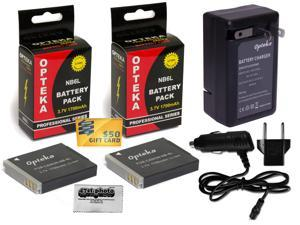 2 Pc NB-6L NB6L Lithium Battery + Rapid Travel Charger for Canon Powershot ELPH 500 HS IS SD770 SD980 SD1200 SD1300 SD3500 SD4000 D10 D20 D30 S90 S95 S120 SX170 SX240 HS SX260 SX270 SX280 SX510 SX600
