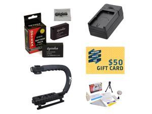 2 Extended Life Replacement Batteries for Canon LP-E12 LPE12 for Canon EOS M M2 Rebel SL1 100D DSLR + 1 hour Charger + Opteka X-GRIP Handle + Deluxe Cleaning Kit + Mini Tripod + $50 Photo Gift Card!