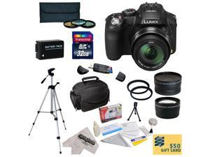Panasonic Lumix DMC-FZ200 Digital Camera with 3-Inch LCD With 32GB SDHC Card, Reader, Battery, 0.43x Fisheye Lens, 2.2x Telephoto Lens, 3 Piece Filter Kit, Case, Tripod, Cleaning Kit, $50 Gift Card