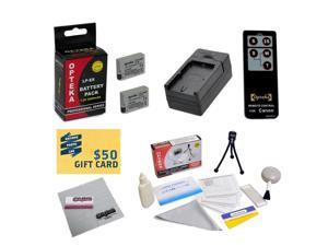 2 Extended Life Replacement Batteries For Canon LP-E8 LPE8 For EOS Rebel T2i T3i T4i T5i DSLR + Rapid Charger + Deluxe Lens Cleaning Kit + Mini Tripod + Wireless Remote Control + $50 Photo Gift Card!