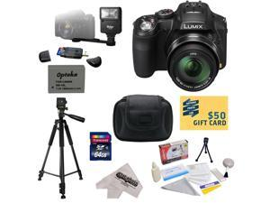 Panasonic Lumix DMC-FZ200 Digital Camera with 3-Inch Vari-Angle LCD With 64GB Memory Card, Reader, Battery, Charger, Flash, Carrying Case, Tripod, Cleaning Kit with Screen Protectors, $50 Gift Card