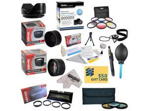 25 Piece Advanced Lens Package For Panasonic Lumix DMC-FZ100 DMC-FZ40 & DMC-FZ45 Digital Cameras Includes 0.43X + 2.2x Lens + 3 Piece Pro Filters + 6 Piece Graduated Filters + $50 Photo Gift Card!