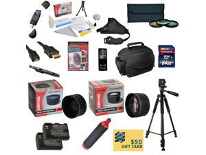 Ultimate Kit for Canon 6D 60D 70D & 5D Mark III Includes 64GB SDXC Card + 2 Batteries + Charger + 0.43x + 2.2x Lens + 3 Piece Filters + Gadget Bag +Tripod + Cleaning Kit + DVD + $50 Gift Card + More