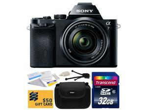 Sony a7K A7 Full-Frame DSLR 24.3 MP Interchangeable Digital Lens Camera FE 28-70mm f/3.5-5.6 OSS Lens with Starter 32GB  Memory Card + Hard Shell Carrying Case + Camera Cleaning Kit + $50 Gift Card