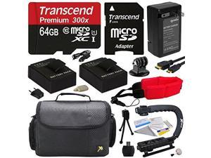 Ultimate Kit For GoPro HERO3+ with 64GB Micro Sd Memory Card, 2x AHDBT-301 Batteries, Charger, Micro HDMI Cable, X-GRIP Handle, Case, Floating Strap, Cleaning Kit,$50 Photo Print Gift Card!